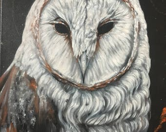 Barn owl original acrylic painting on stretched canvas nature animal woods forest decoration