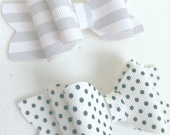 Grey Stripe & Polka Dot Bow