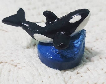 Orca, Killer Whale, Killer Whale Figure, Figurine, Miniature Whale, Whale Figurine, Desk Ornament, Home Decor, Polymer Clay Whale, Polymer