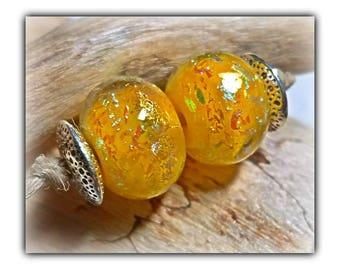 Yellow Dichro EARRING Pair**Handmade Lampwork Beads**Angela Bohanan**
