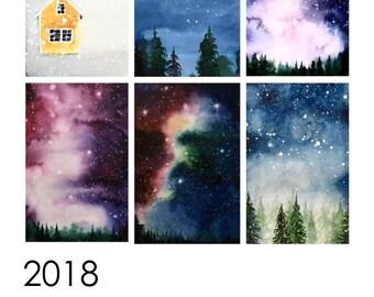 Watercolor Printable Calendar 2018 DIGITAL DOWNLOAD english and norwegian