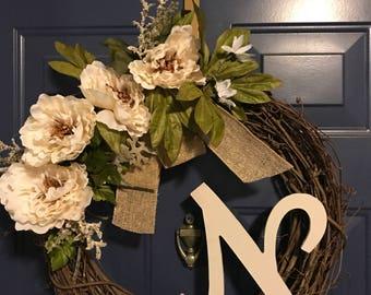 Flower Trimmed grape vine wreath
