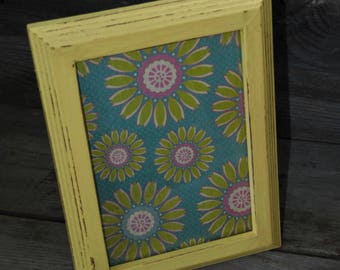 Upcycled Wood Picture Frame/ 5x7 Frame/ Shabby Chic / Distressed / Yellow Frame / Cottage Decor / Baby Shower/ Nursery