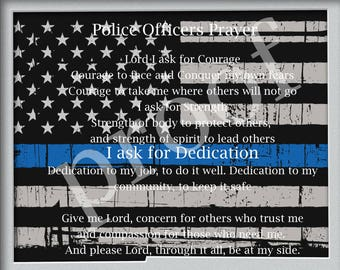 Police Officer Prayer Wall Print