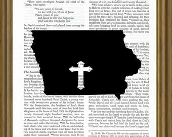 Iowa silhouette on Bible page