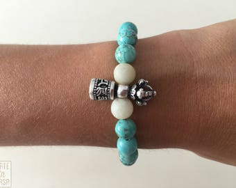 Beaded bracelet turquoise and Amazonite with campaign Tibetan vajra Buddhist amulet silver