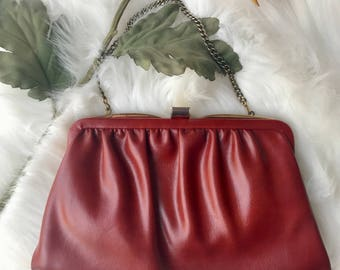 70's vintage ande red leather clutch or chain handled evening bag