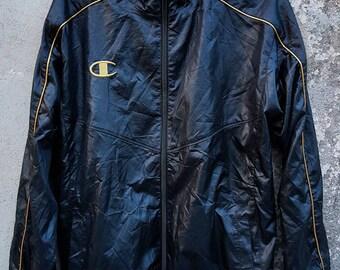 Vintage Champion Embroydered Gold Windbreaker Jacket