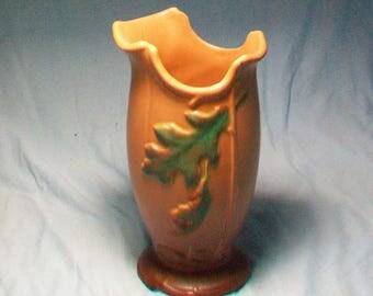 Vintage Weller Pottery Brown Green Leaves Vase