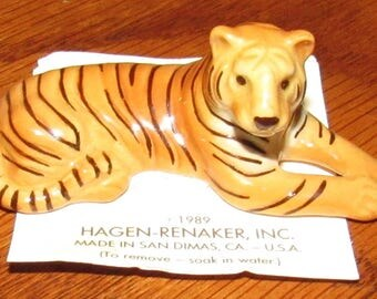 Vintage Hagen Renaker Miniature Tiger Figurine on Card