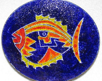 Mid Century Handarbeit Colorful Enamel Fish Wall Plaque