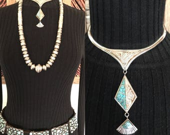 Navajo Sterling Silver Necklace, Statement Necklace, Native American Jewelry, Turquoise Necklace, Vintage Southwest Jewelry, Western Jewelry
