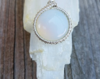 """OPAL MOONSTONE Sterling Silver Wrap Necklace 16"""""""