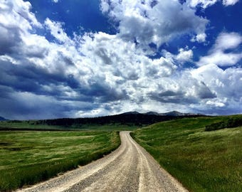 Landscape photography, Montana dirt roads, Nature, Blue sky, Road trip photo, Original wall art