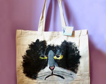MR MARVELLOUS Melancholy Cat Original Hand Painted Heavy Duty Shopping Bag