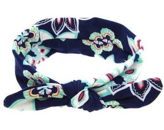 Navy Floral Headband
