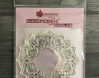 Woodware Rose Wreath Clear Stamp
