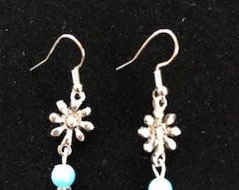 Dainty Little Flower Silver Earrings with a Turquoise Dangle Bead