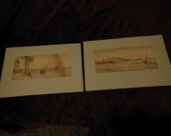 Pair of antique matted original watercolor paintings unknown artist incredible detail!