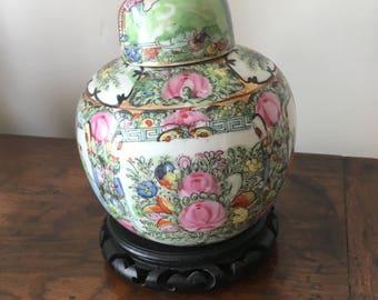 Vintage Japanese ACF Porcelain Ware Hand Decorated in Hong Kong Flowered Ginger Jar or Vase and Lid