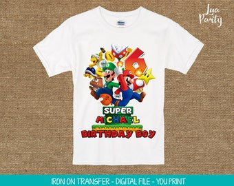 Super Mario iron on print yourself, Super Mario birthday iron on shirt, Super Mario birthday iron on t-shirt