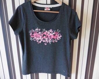 90's Women's T-Shirt/Lee Cooper T-Shirt/Stylish Grey T-Shirt/T-Shirt With Flower Print/Short Sleeve Shirt