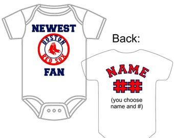 Newest Boston Red Sox Fan Custom Made and Personalized Baseball Gerber Onesie You Choose Name & Number - Great New baby or Shower Gift