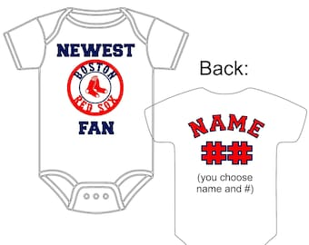 Red sox fan etsy newest boston red sox fan custom made and personalized baseball gerber onesie jersey you choose name negle Image collections