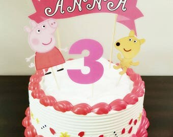 Peppa Pig Cake Topper, Cake Toppers, Cake Decorations , Peppa Pig Decorations