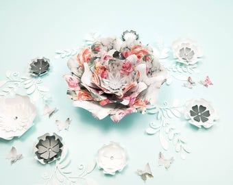 Paper flowers wall decor. Large flowers wall decor. Nursery flowers wall decor. Wedding backdrop. Baby shower decor. Girls room decor.