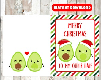 Funny Christmas card, foodie christmas card, cute Christmas card, funny card, Merry Christmas, To my other Half, instant download
