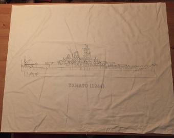 Hand-Painted,  Yamato Canvas Cross-section Battleship Banner,
