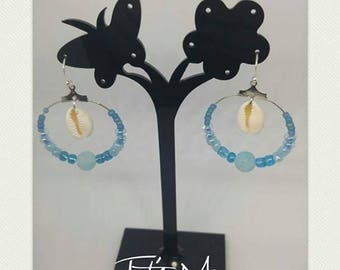 "Earrings ""Shell and its blue cascade"" - LIMITED"