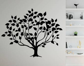 Tree Decal, Tree Sticker, Tree With Leaves Wall Decal, Tree Décor, Wall Décor, Vinyl Wall Decals, Trees, Stickers, Wall Decals, Wall Sticker