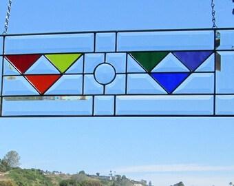 Art Deco LGBT Rainbow Jewel Stained Glass|Beveled Glass Transom Window Panel