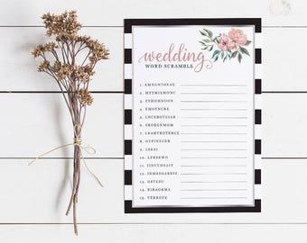 Floral Stripe Bridal Shower Word Scramble