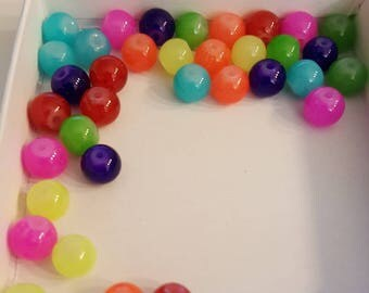 8mm Multi-Color Glass Beads