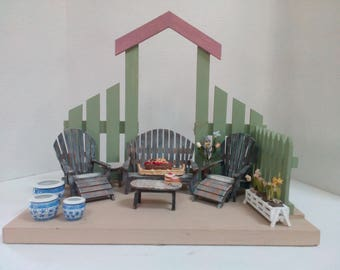 Vintage Dollhouse Patio Deck with furnitures 21 pieces