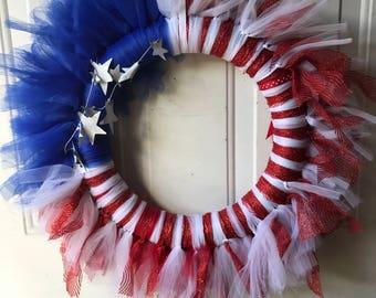 American Flag Tulle Wreath