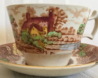 English Scenery Teacup and Saucer - Enoch Woods - Wood and Sons England