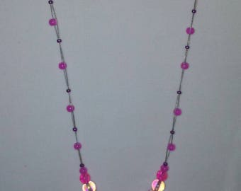 ON SALE! Pink glass beaded illusion necklace.
