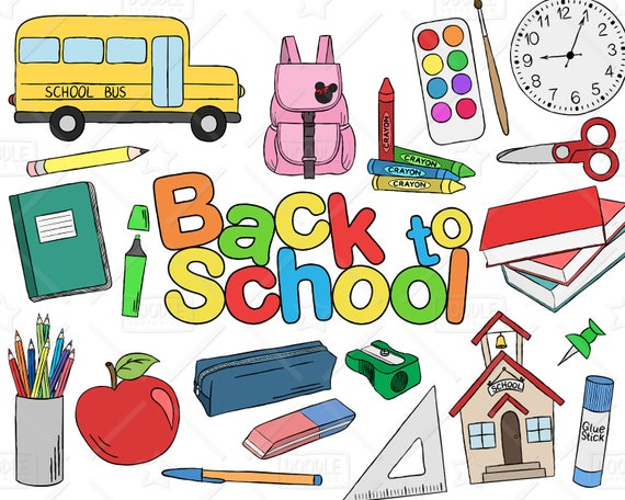 Back To School Clipart Vector Pack Hand Drawn School Clip