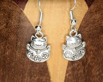 Earrings cat lucky silver, clip Chinese cat lucky silver