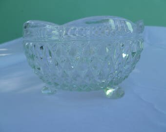 vintage cut glass candy or nut dish