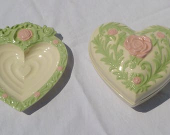 vintage ceramic heart dish and trinket dish with pink roses