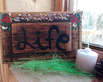 HAPPY LIFE PAINTING, Home Decor, Vintage Art, Wall design, Handmade sign, Wood sign, Log cabin art, Birthday Gifts, Housewarming art, Decor