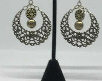 Brass Toned Earrings with a Hint of India