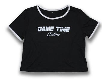 Womens Striped Crop Top Tee {Game Time Customs}