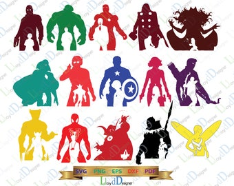 Avengers SVG Marvel Avengers clipart Avengers silhouette superhero svg Avengers infinity war 15 heroes svg png dxf cut files cameo cricut