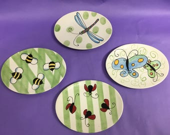 4 Insect Plates - Whimsy Collections by Jill Seale